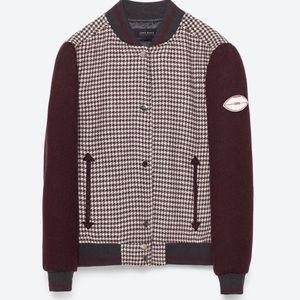 Zara Jackets & Coats - 🥀ZARA MAROON CHECKED BOMBER JACKET